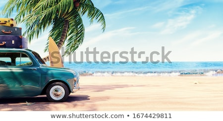 car on the road ready for summer holiday 3d rendering stock photo © alphaspirit