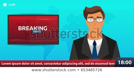 Mass media banner. Anchorman in Breaking News. Live. Television studio. TV show. Stock photo © Leo_Edition