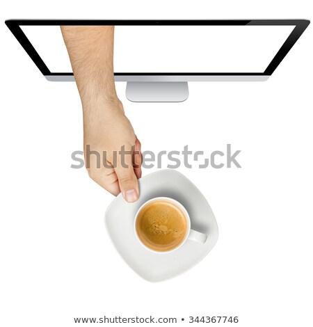 手 外に コンピュータの画面 デスク グレー 食品 ストックフォト © AndreyPopov