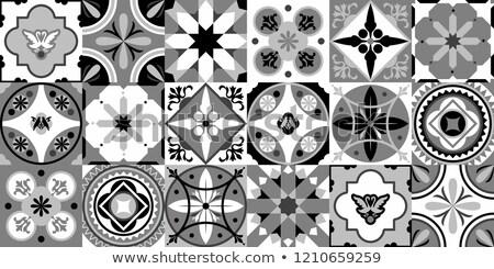 Stock photo: Portuguese tiles pattern - Azulejo black and white design, seamless vector blue background, vintage