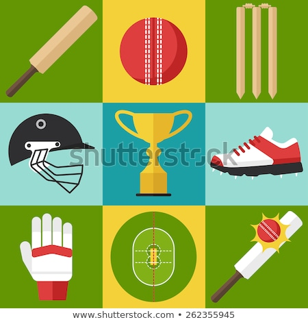 sports helmet and ball with bat by stumps on pitch stock photo © wavebreak_media