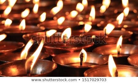vaj · lámpák · buddhista · kolostor · fém · gyertya - stock fotó © bbbar