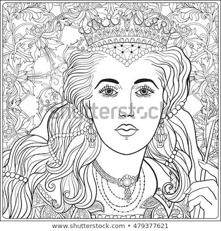 塗り絵の本 中世 女性 女性 図書 芸術 ストックフォト © clairev