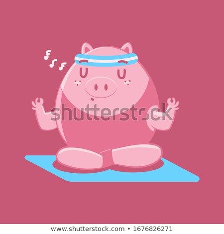 Yoga Pig. Piggy meditating isolated. Zen and relaxation. Farm an Stock photo © popaukropa