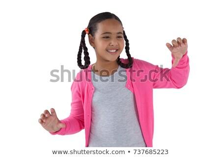 Lány érintés láthatatlan képernyő fehér gyermek Stock fotó © wavebreak_media