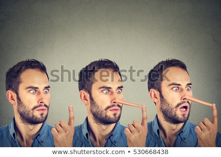 Man with long nose. Liar concept. Human emotions, feelings. Stock photo © ichiosea