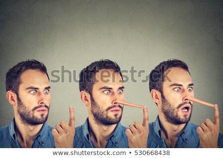 homem · longo · nariz · isolado · cinza - foto stock © ichiosea