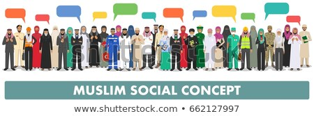 young muslim doctor with speech bubble stock photo © rastudio