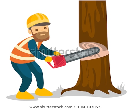 Young caucasian lumberjack with chainsaw. Stock photo © RAStudio
