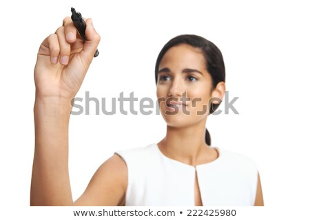 Businesswoman writing keywords on glass Stock photo © IS2
