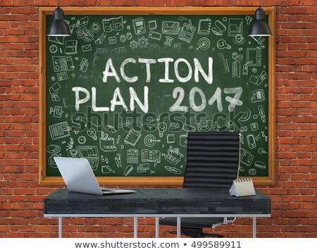 Actie plan schoolbord doodle iconen 3D Stockfoto © tashatuvango