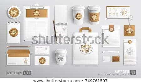 コーヒーカップ 包装 アップ ベクトル 現実的な コーヒー豆 ストックフォト © frimufilms
