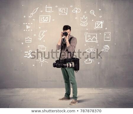 Information Concept on Front of Camera Lens. Stock photo © tashatuvango