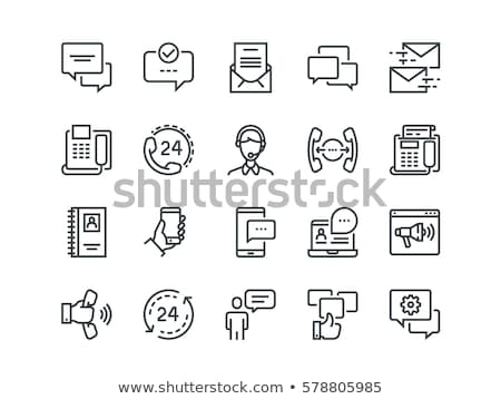 Photo stock: Simple Contact Icons Set Including Mobile Call Messages Chat