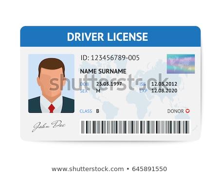 jogosítvány · nő · fotó · személyi · igazolvány · vektor · kék - stock fotó © vectorworks51