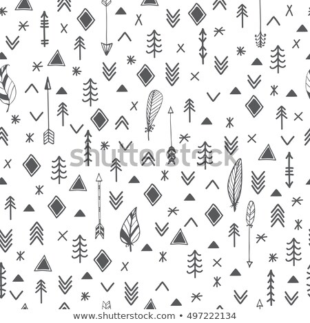 Arrows grunge seamless vector Aztec pattern, Tribal art wallpaper, Indian Navajo design  Stock photo © RedKoala