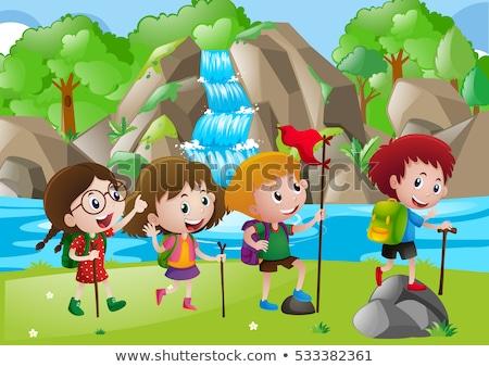 wandelen · kinderen · illustratie · weinig · reis · bos - stockfoto © bluering