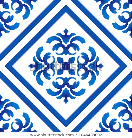 Seamless blue vector tile pattern, Azulejos tiles, Portuguese geometric and floral design - colorful Stock photo © RedKoala