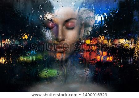 Сток-фото: красивой · печально · женщину · дождливый · ночь · портрет