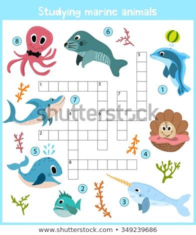 Quebra-cabeça desenho animado oceano animais colorido grade Foto stock © adrian_n