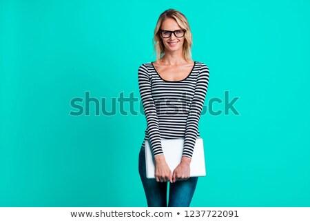 ストックフォト: 眼鏡 · ホールド · ノートパソコン · 肖像 · 魅力的な