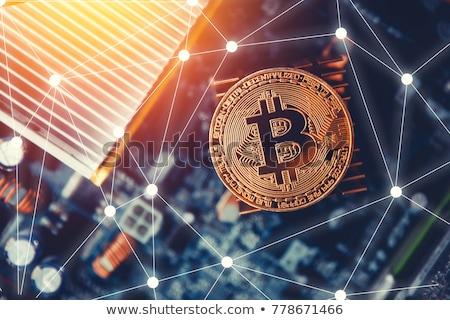 Ikona bitcoin ciemne handlowy obraz waluta Zdjęcia stock © artjazz