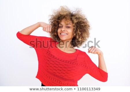 Portré mosolyog boldog lány bicepsz mérőszalag körül Stock fotó © deandrobot