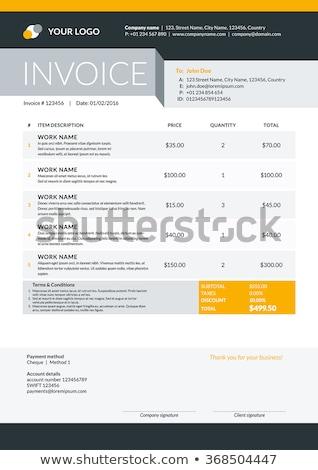 modern yellow black vector invoice template design Stock photo © SArts
