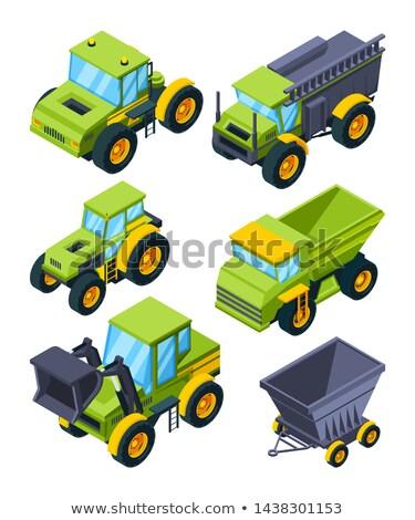 Zielone ciągnika izometryczny 3D rolniczy Zdjęcia stock © studioworkstock
