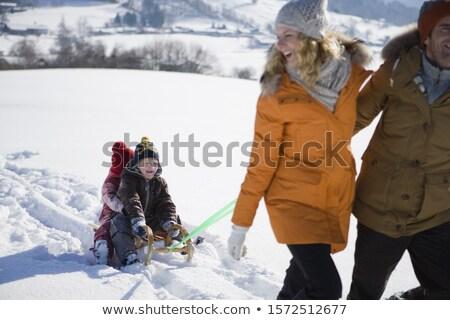 Anne çocuk sıcak kış bez yandan görünüş Stok fotoğraf © robuart