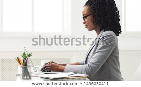 Afrikaanse secretaris werken laptop kantoor corporate Stockfoto © studioworkstock