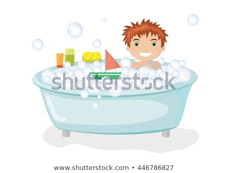 Boy taking bath in the tub Stock photo © bluering