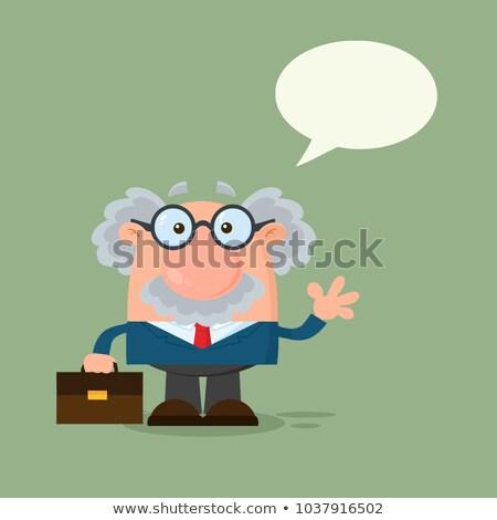 Profesör bilim adamı konuşma balonu el Stok fotoğraf © hittoon