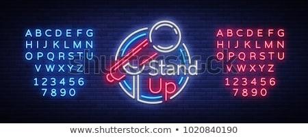 neon · tuğla · duvar · 3D · örnek · ışık - stok fotoğraf © stevanovicigor