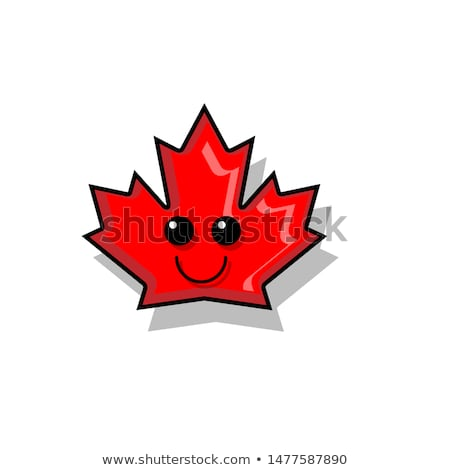happy canadian red maple leaf cartoon mascot character stock photo © hittoon