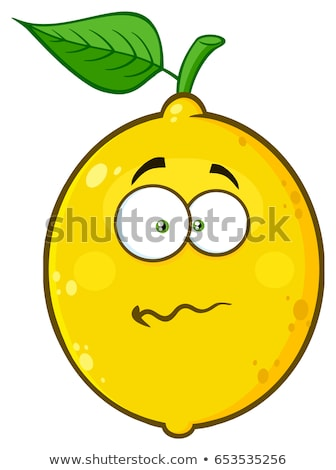 nervous yellow lemon fruit cartoon emoji face character with confused expression stock photo © hittoon