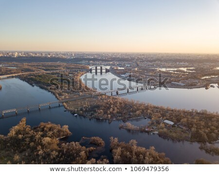 Panoramic view of the right bank of Kiev.Data of the Dnieper with bridges and industrial district of Stock photo © artjazz