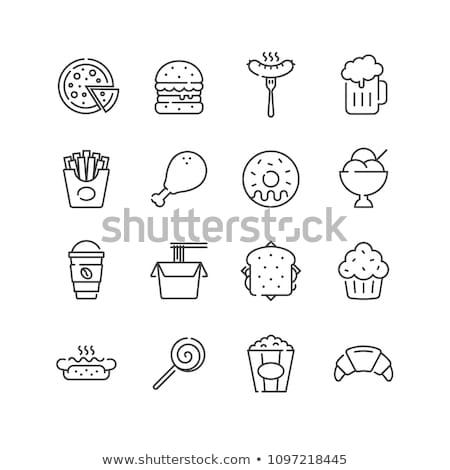 Frites françaises vecteur ligne icône isolé blanche Photo stock © RAStudio