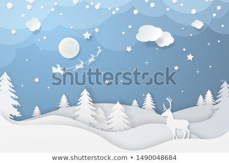 Papír tél illusztráció szarvas fenyő hold Stock fotó © rwgusev
