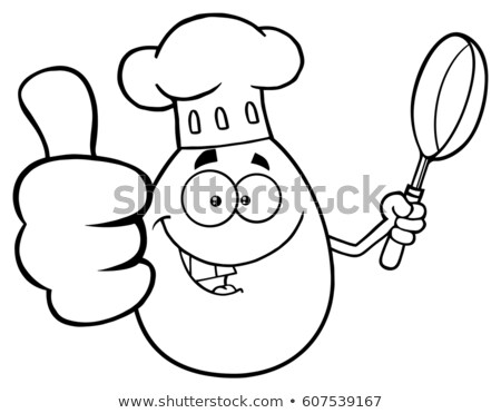 black and white chef egg cartoon mascot character showing thumbs up and holding a frying pan stock photo © hittoon