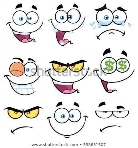 Angry Cartoon Funny Face With Grumpy Expression Stock photo © hittoon