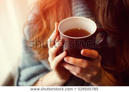 Kobieta pitnej herbaty rano portret piękna kobieta Zdjęcia stock © Pilgrimego