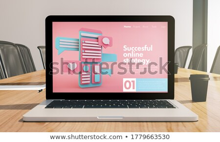 seo software on laptop in conference room stock photo © tashatuvango