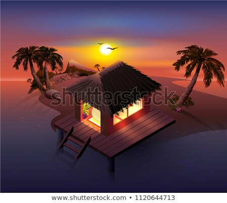 night tropical island palm trees and shack on beach stock photo © orensila
