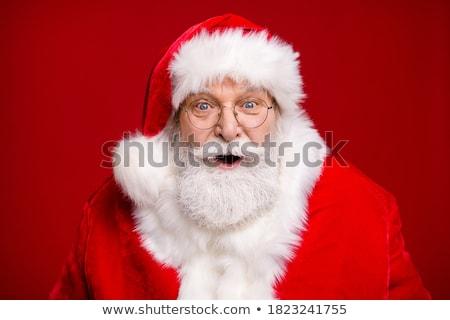 Papá noel rojo sombrero blanco barba aislado Foto stock © orensila
