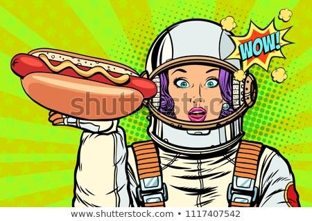 голодный женщину астронавт Hot Dog колбаса Поп-арт Сток-фото © studiostoks