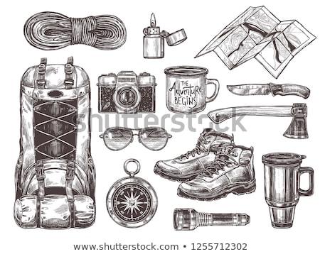Toeristische uitrusting wandelen outdoor reizen Stockfoto © vectorikart
