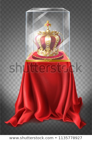 Showcase pedestal covered with red cloth Stock photo © Arsgera