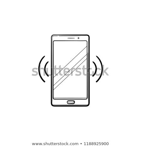 мобильного · телефона · икона · вектора · иллюстрация · изолированный · белый - Сток-фото © rastudio