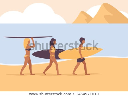 woman holding surfing board vector illustration stock photo © robuart